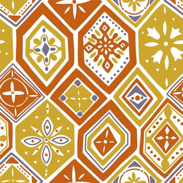 Wspaniały Wzór Z Pomarańczowymi Kafelkami, Ozdoby. Może Być Używany Do Tapet, Wypełnień Deseniem, Tła Strony Internetowej, Tekstur Powierzchni. Premium Wektorów
