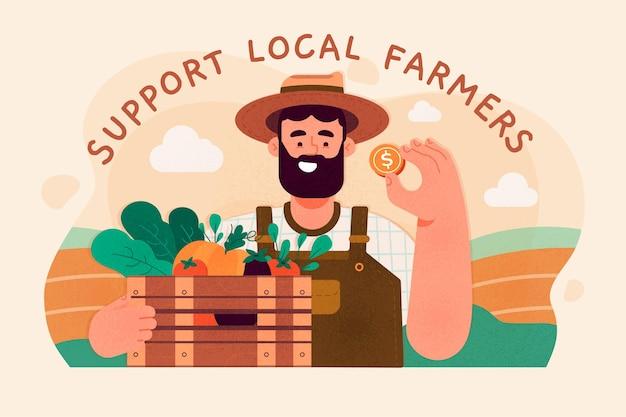 Wspierać Koncepcję Lokalnych Rolników Darmowych Wektorów
