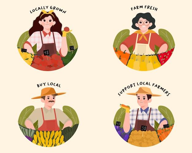 Wspieraj Lokalnych Rolników I Etykiety Farmer's Market. Premium Wektorów