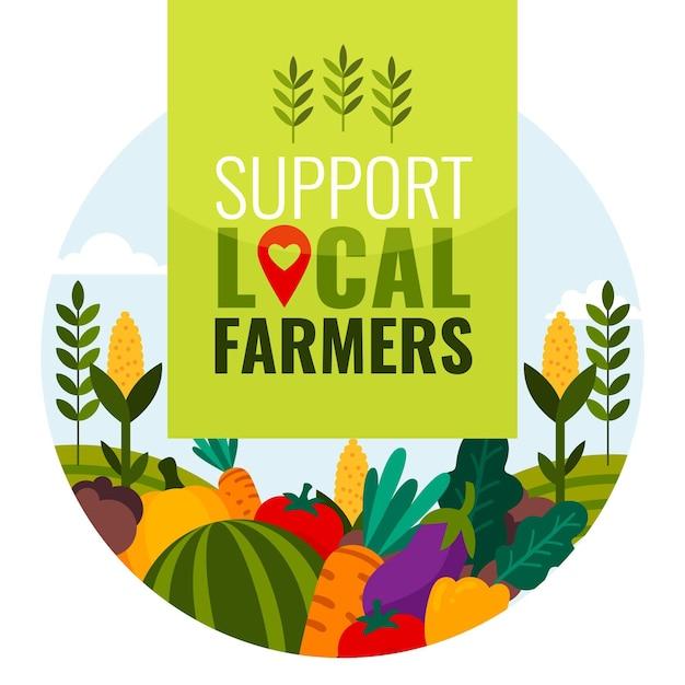 Wspieraj Lokalnych Rolników Premium Wektorów