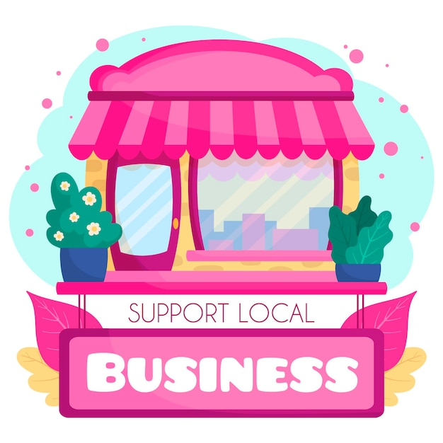 Wspieraj Różowy Lokalny Rynek Biznesowy Darmowych Wektorów