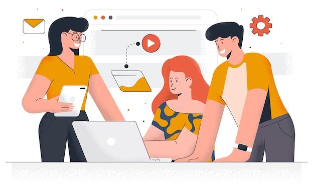 Współczesny Marketing Cyfrowy. Młody Mężczyzna I Kobieta Pracują Razem Nad Projektem. Praca Biurowa I Zarządzanie Czasem. łatwe Do Edycji I Dostosowywania. Ilustracja Premium Wektorów