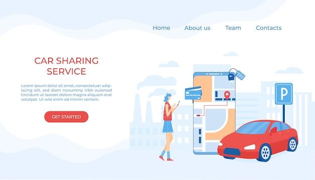 Współdzielenie Samochodów I Koncepcja Usług Taksówkowych Online. Aplikacja Mobilna Do Wypożyczenia Samochodu I Wezwania Taksówki Premium Wektorów