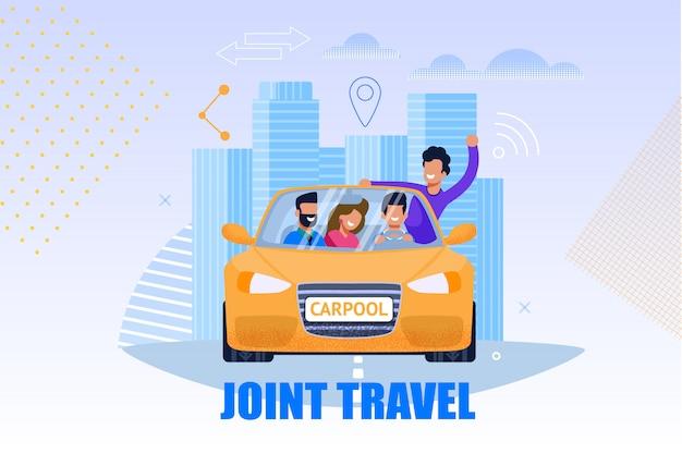 Wspólna Ilustracja Usług Turystycznych. Koncepcja Carpool Premium Wektorów