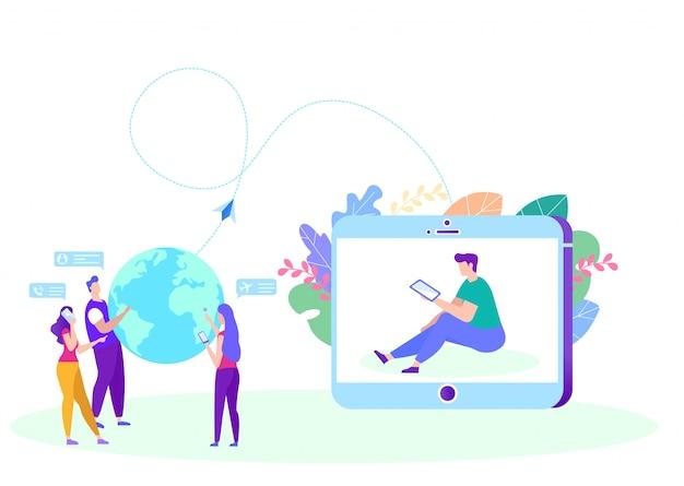 Współpraca W Nauczaniu Na Odległość Premium Wektorów