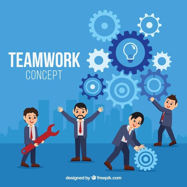 Współpraca Z Szczęśliwymi Biznesmenami Darmowych Wektorów