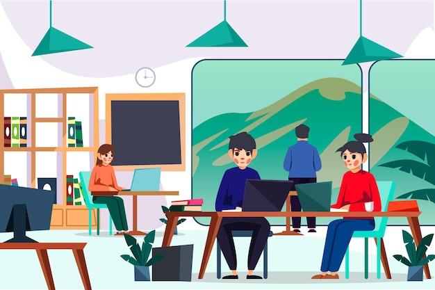 Współpracownicy Korzystający Z Urządzeń Cyfrowych W Przestrzeni Coworkingowej Darmowych Wektorów