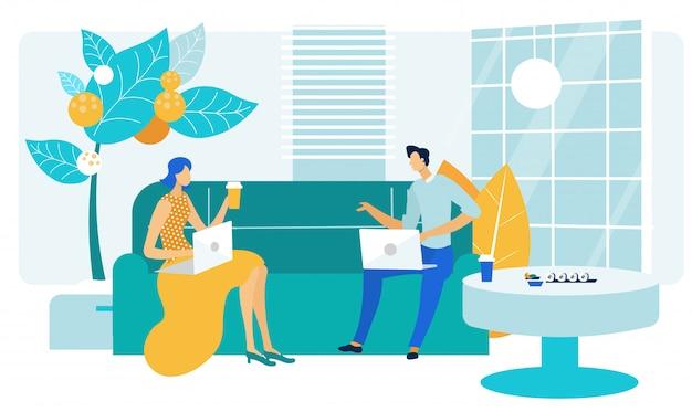 Współpracownicy Przyjazna Rozmowa Ilustracja Wektorowa Płaski Premium Wektorów