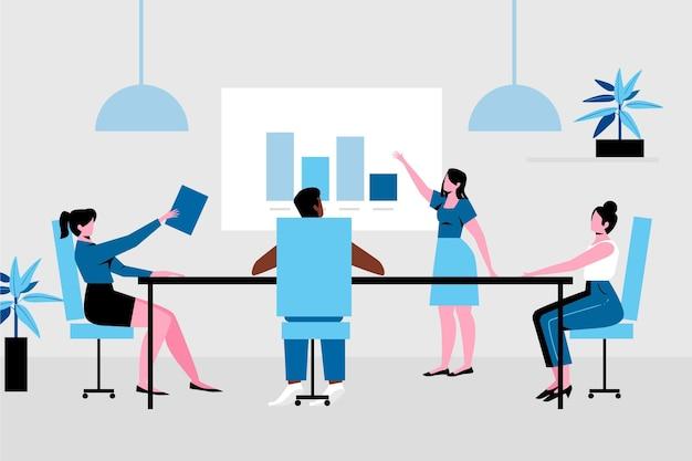 Współpracownicy Utrzymujący Dystans Społeczny W Biurze Spotkań Darmowych Wektorów