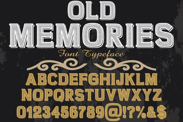 Wspomnienia dotyczące projektowania czcionek w starym stylu Premium Wektorów