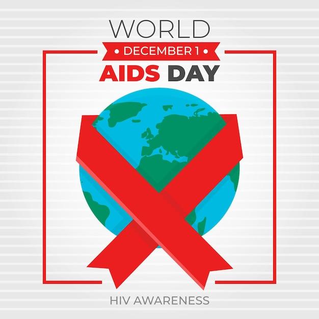 Wstążka Dnia Aids Na Całym świecie Premium Wektorów