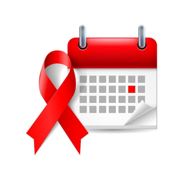 Wstążka I Kalendarz świadomości Aids Premium Wektorów
