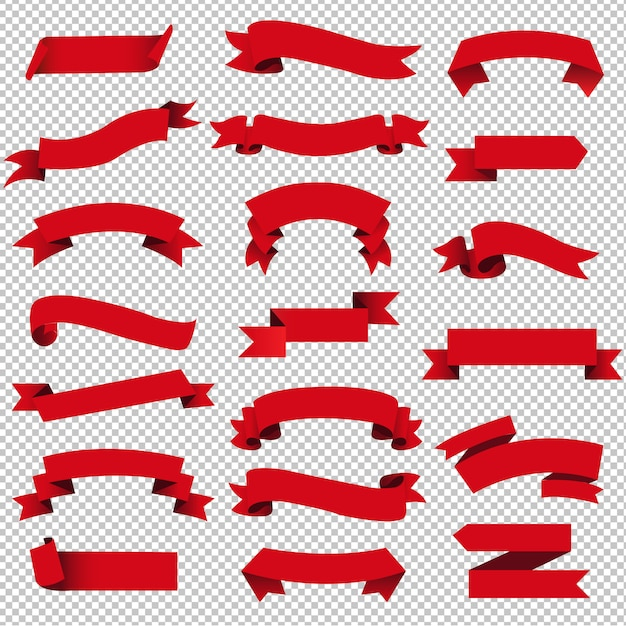 Wstążka Retro Czerwony Web Zestaw Na Białym Tle Przezroczysty Premium Wektorów
