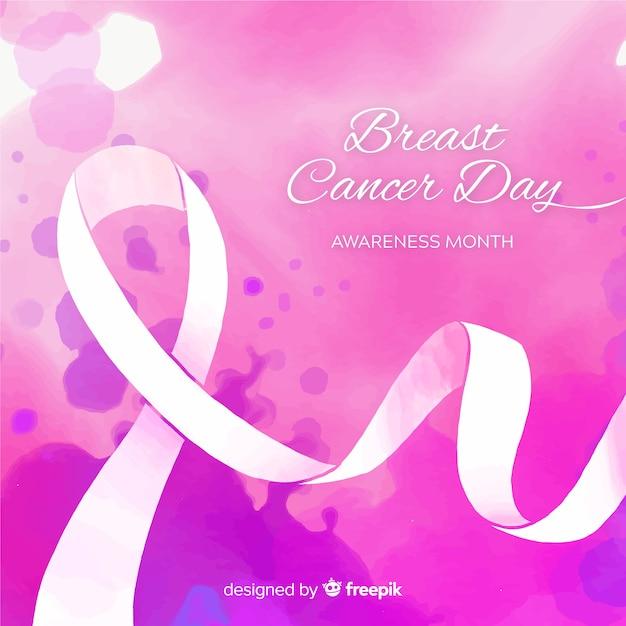 Wstążka świadomości raka piersi akwarela na fioletowym tle Darmowych Wektorów