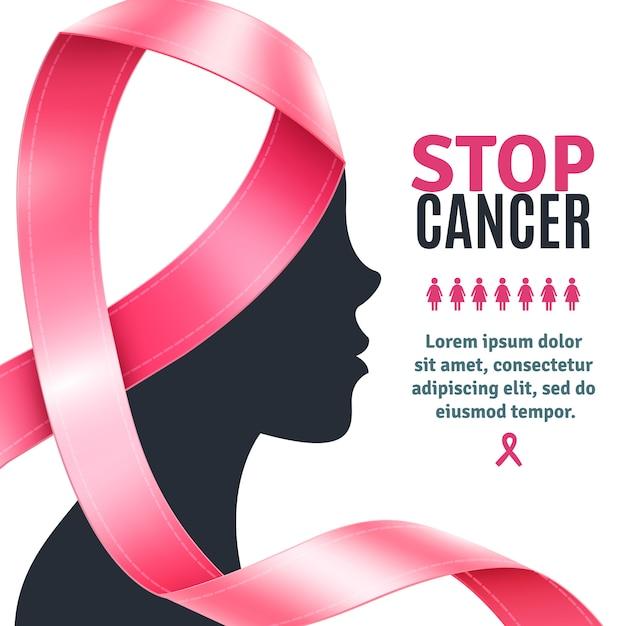 Wstążka świadomości raka piersi w tle Darmowych Wektorów