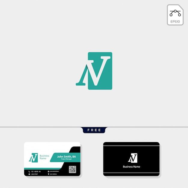 Wstępny szablon logo n, nv, uwolnij swój projekt wizytówki Premium Wektorów