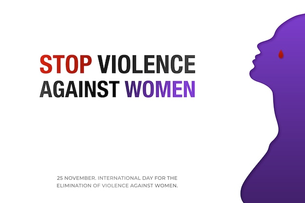 Wstrzymać Przemoc Wobec Kobiet. Premium Wektorów