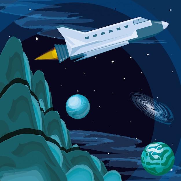 Wszechświat I Latanie Rakietami Kosmicznymi Premium Wektorów