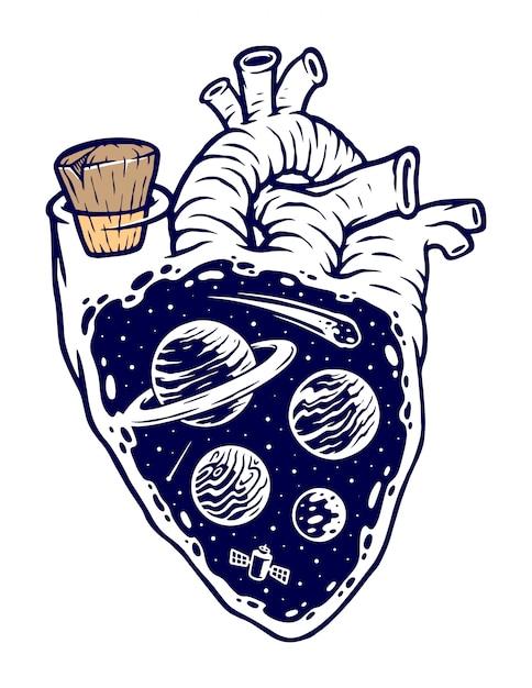 Wszechświat Na Mojej Ilustracji Serca Premium Wektorów
