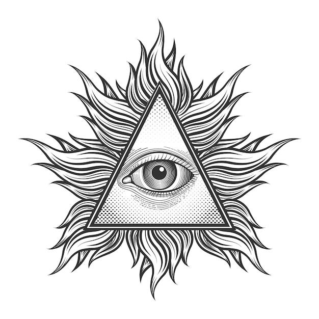 Wszyscy Widzą Symbol Piramidy Oka W Grawerowanym Stylu Tatuażu. Mason I Duchowość, Iluminaci I Religia, Magia Trójkątów, Darmowych Wektorów