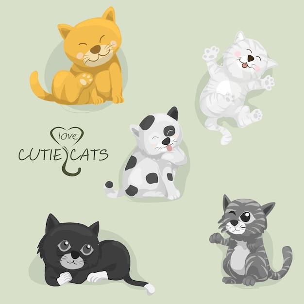Wszystkie Kreskówki Cutie Koty, Set Kreskówka Koty, Wektor Premium Wektorów
