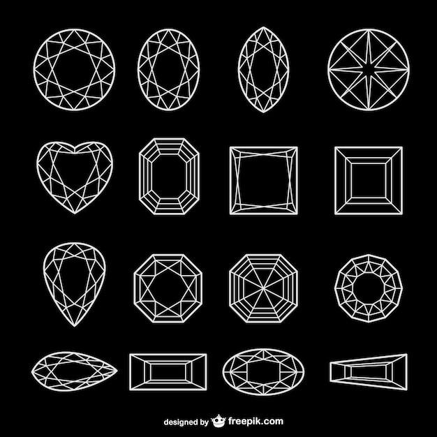 Wszystkie rodzaje diamentów linii grafikę wektorową Darmowych Wektorów