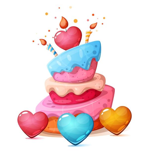 Wszystkiego najlepszego, serce, ciasto ilustracja Premium Wektorów