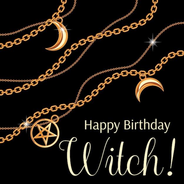 Wszystkiego najlepszego witch. projekt karty okolicznościowej z wisiorkami pentagramu i księżyca na złotym metalicznym łańcuszku. Premium Wektorów