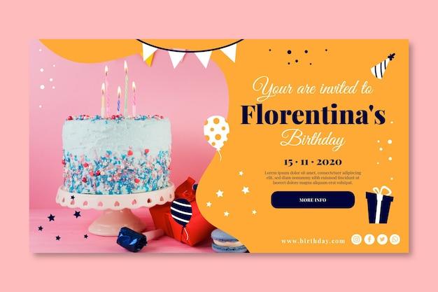 Wszystkiego Najlepszego Z Okazji Urodzin Baner Pyszne Ciasto Premium Wektorów
