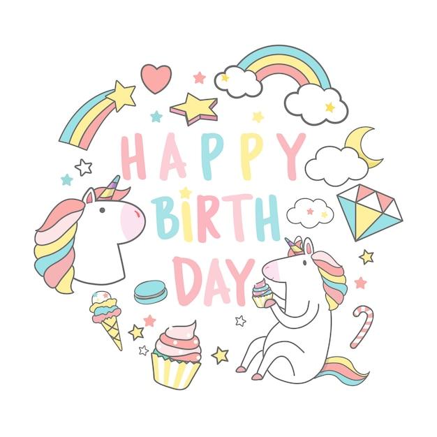 Wszystkiego najlepszego z okazji urodzin jednorożec z magii elementów karty wektor Darmowych Wektorów