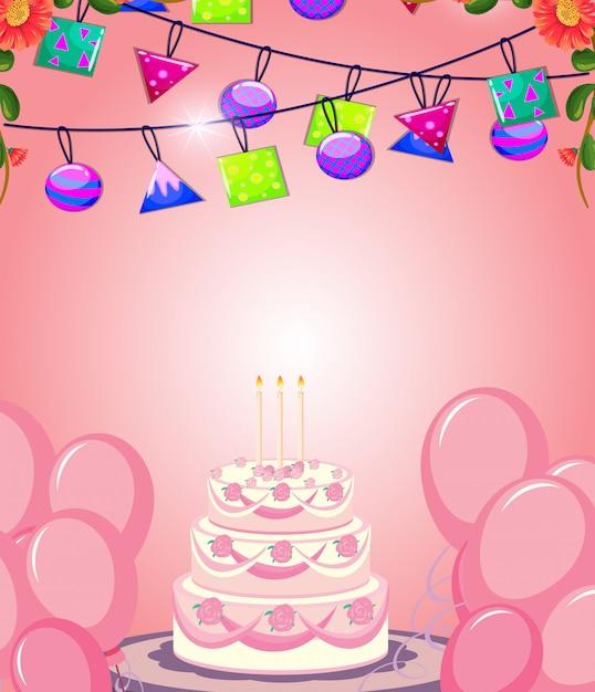 Wszystkiego najlepszego z okazji urodzin kartka z pozdrowieniami z tortem i dekoracją Darmowych Wektorów
