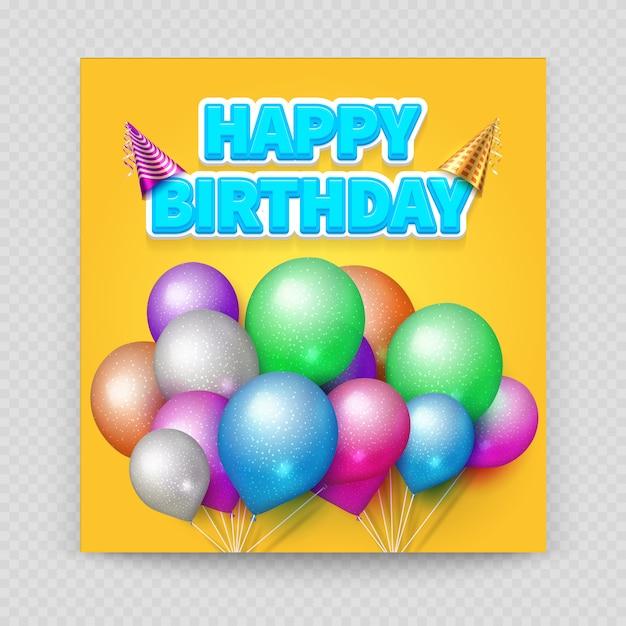 Wszystkiego Najlepszego Z Okazji Urodzin Kartkę Z życzeniami Pusty Papier Balony Premium Wektorów