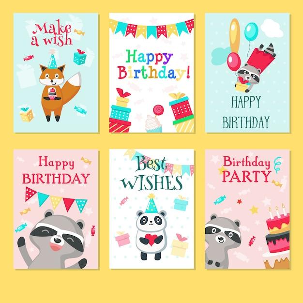 Wszystkiego najlepszego z okazji urodzin kartki. ręcznie rysowane s na urodziny dla dzieci z uroczymi zwierzętami pandy, szopy, lisy z balonami, pudełka na prezenty, ciasta, serca, flagi sznurkowe dekoracje na przyjęcia. Premium Wektorów