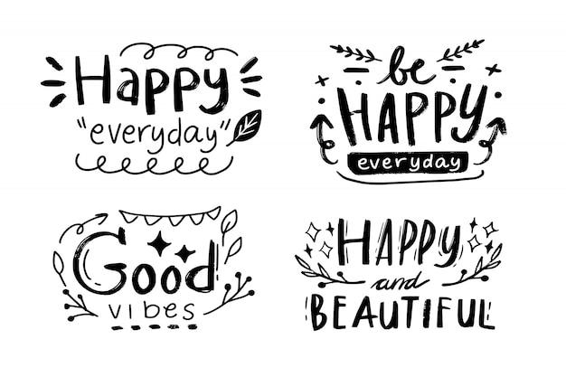 Wszystkiego Najlepszego Z Okazji Urodzin List Typografii Rysunek Cytat Premium Wektorów