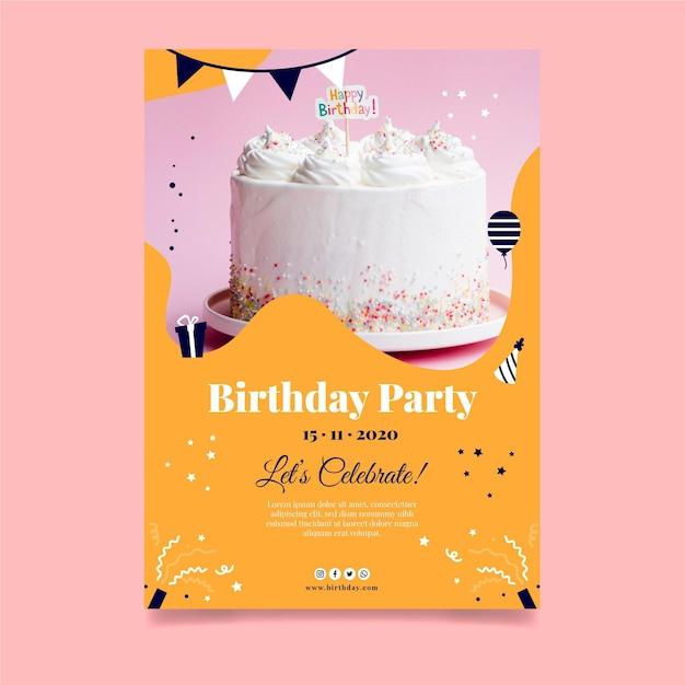 Wszystkiego Najlepszego Z Okazji Urodzin Plakat Pyszne Ciasto Premium Wektorów