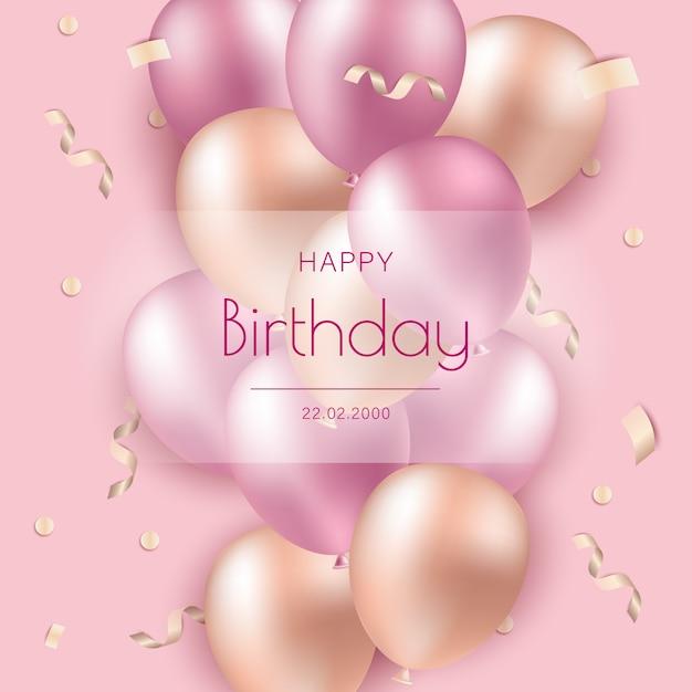Wszystkiego Najlepszego Z Okazji Urodzin. Różowe Balony Na Tle Wszystkiego Najlepszego Premium Wektorów