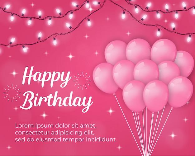 Wszystkiego Najlepszego Z Okazji Urodzin Tło Z Różowymi Balonami I Lekkimi Dekoracjami Premium Wektorów