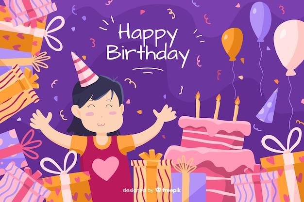 Wszystkiego najlepszego z okazji urodzin tło z tortem i prezentami Darmowych Wektorów