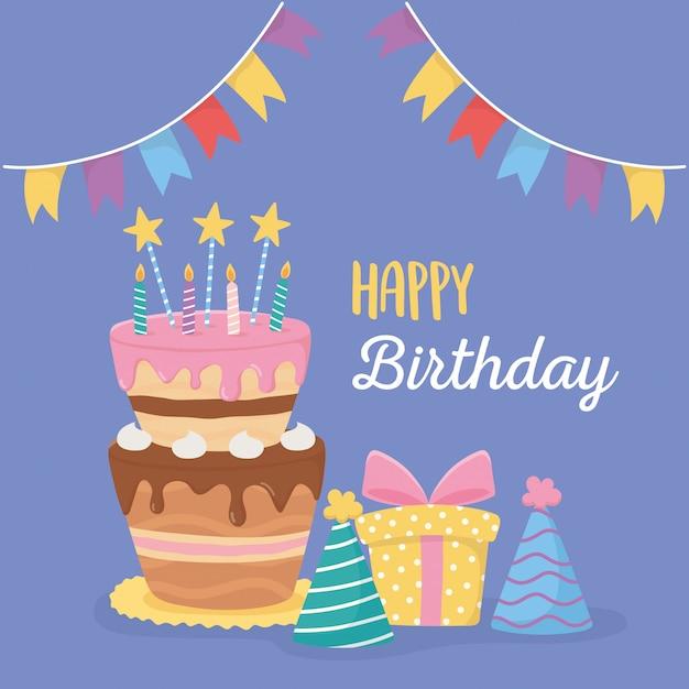 Wszystkiego Najlepszego Z Okazji Urodzin, Tortu, świec I Czapek Na Przyjęcie Urodzinowe Premium Wektorów