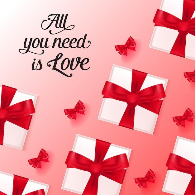 Wszystko, Czego Potrzebujesz, To Napisy Miłosne Z Pudełkami Na Prezenty Darmowych Wektorów