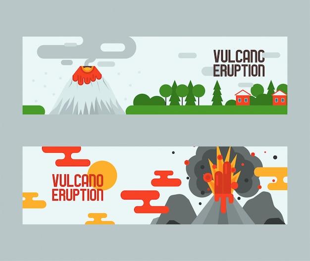 Wulkanu Wybuch Wulkanizmu Wybuch Konwulsja Natury Wulkanicznej W Górach Ilustracja Tło Premium Wektorów
