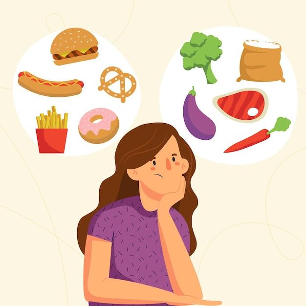 Wybieranie Zdrowej Lub Niezdrowej żywności Darmowych Wektorów