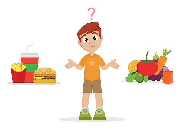 Wybór Boy. Niezdrowe Jedzenie Lub Zdrowa żywność. Premium Wektorów