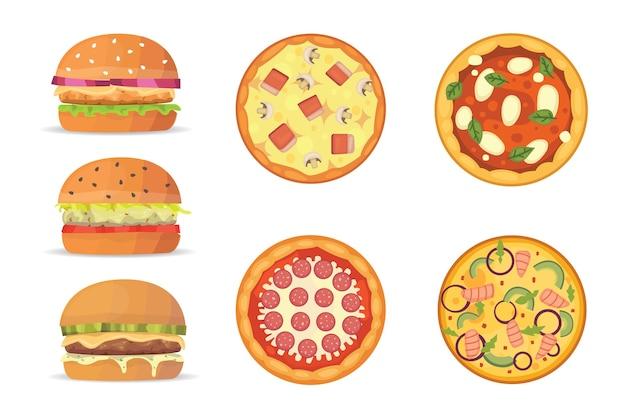 Wybór Burgerów I Pizzy Premium Wektorów