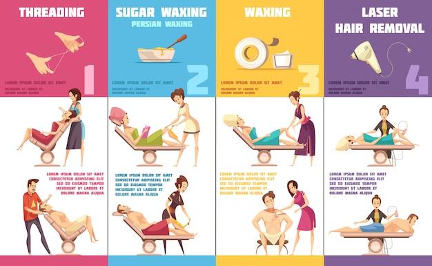 Wybór depilacji usuwania włosów dla każdego obszaru problemowego 4 pionowe banery infografika kreskówka collec Darmowych Wektorów