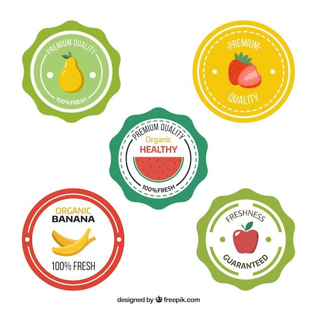 Wybór Pięciu Okrągłych Etykiet Z Płaskimi Owocami Darmowych Wektorów