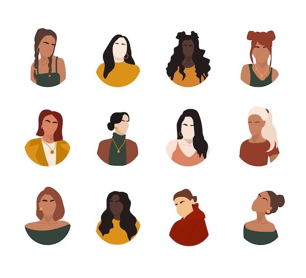 Wybór Portretów Kobiet Premium Wektorów