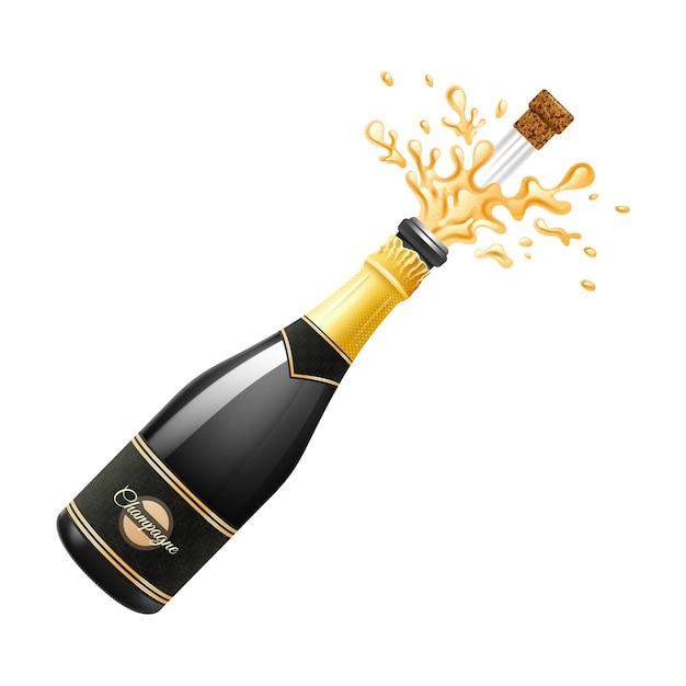 Wybuch czarnej butelki szampana z korkiem i odpryskami Darmowych Wektorów