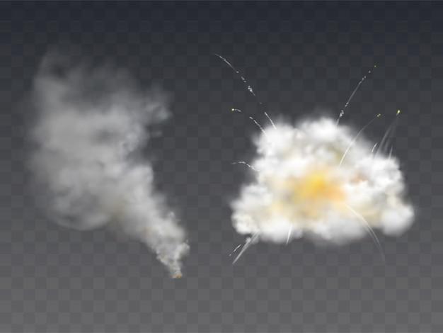 Wybuch dym blast realistyczny ilustracja z wybuchu bomby, spalania smogu ognia i petardy Darmowych Wektorów