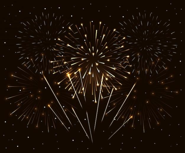 Wybuch Fajerwerków Na Ciemnym Niebie W Nocy, Obchody Nowego Roku Premium Wektorów